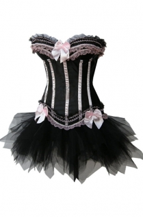 Hollywood Dream Lace Strapless Corset Ruffle Skirt Dress with Black Lace Trimming, Bows and Ribbons