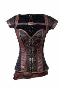 Steel Boned Steampunk Leather and Cloth Corset With Front Buckles