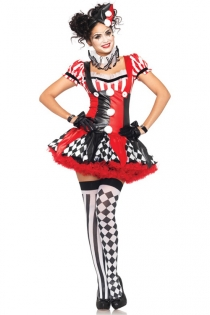 Clown Cosplay Costume with Headwear and Collars
