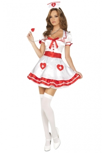 Spicy Nurse's Costume, Short White Dress/Red Trim with Headwear