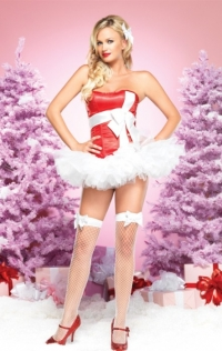 Santa's Sweetie Costume, Corset Top with Front Bow Decration, and Layerd Tutu Dress, Stockings are not inclued