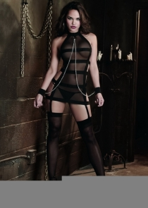 Sexy Black Mesh Chemise With Attached Chains & Wrist Restraints