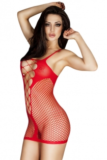 Sexy Red Fishnet Lingerie Dress with Sexy String Center Panels