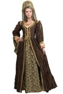 Enchanting Mademoiselle Finely Wrinkled Dark Brown Longsleeve Gown With Nice Printed Long Inner Skirt Design