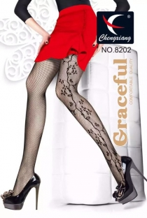 Graceful Fishnet Stockings With Floral Side Details