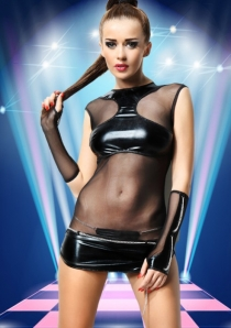 Spicy See Through Mini Dress with Faux Leather Bra and Bottom Trim