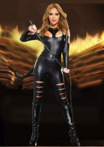 Black Faux Leather Adventurous Wild Cat Girl Costume Bodysuit With Tail & whip