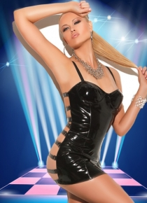 Black Faux Leather Chemise and Thong with Strappy Open Back