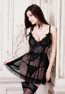 Lovely Black Mesh Babydoll With Ruffled Bottom Trim And The Matching G-string