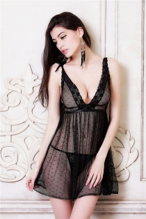 Mysterious Black Mesh Babydoll With Adjustable Shoulder Straps And The Matching Thongs