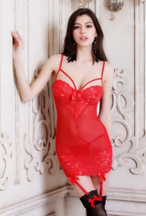 Sexy Red Sheer Chemise With Lace Bust & Bottom Trim and Garters
