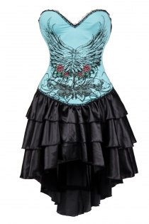 Blue Flower and Wings Printing Corset Dress With Layered Irregular Bottom Design