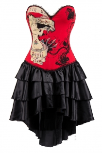 Hot Red Devil Soul Printing Corset Dress With Layered Irregular Bottom Design