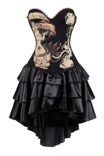 Black Devil Soul Printal Corset Dress With Layered Irregular Bottom Design