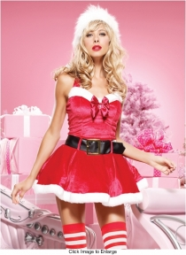 Sexy Miss Santa Costume With Head Decoration and Black Belt