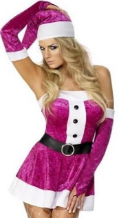 Sexy Christmas Dress With Head Decoration, Black Belt and Glooves