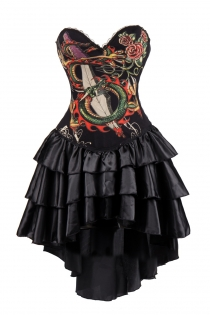 Black Dragon Print Corset Dress With Layered Irregular Bottom Design