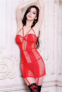 Spicy Red Fishnet Babydoll With Adjustable Shoulder Straps And Hook & Eye Back Closure, Thongs Included