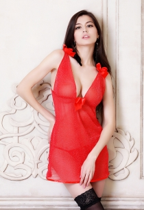 Sexy Sheer Red Babydoll With Attached Bows and The Matching Thongs