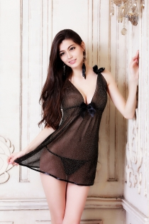 Sexy Black Sheer Babydoll With Attached Bows, Adjustable Shoulder Straps and The Matching Thongs