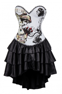 White Devil Soul Print Corset Dress With Layered Irregular Bottom Design