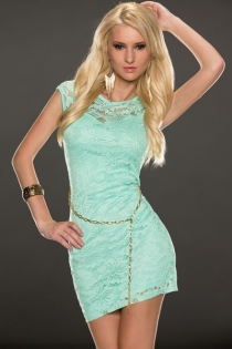 Light Green Lace Club Wear Mini Dress With Chain Waist Details