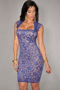Sexy Blue Lace Halter Clubwear Dress