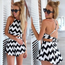 Charming Black & White Geometric Printing Top And Skirt Set With Adjustable Strap