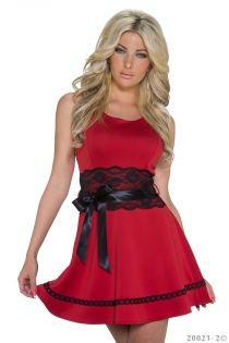 Red Sleeveless A-line Mini Dress With Black Lace Waist and Bow Ribbon Details