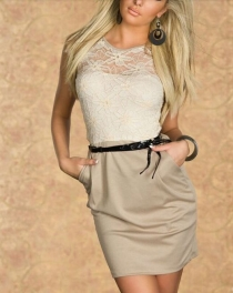 Classic Graceful Mini Dress With Floral Lace Top and PU Belt Details