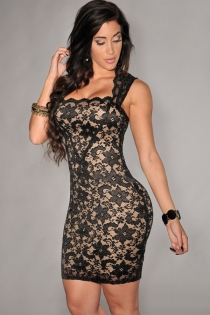 Sexy Black  Floral Lace Sleeveless Clubwear Mini Dress