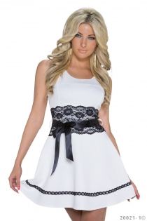 White Sleeveless A-line Mini Bridesmaid Dress With Black Lace Waist and Bow Ribbon Details