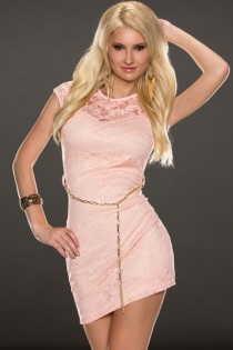 Pink Sexy Club Wear Mini Dress With Chain Waist Details