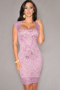 Graceful Pink Floral Lace Sleeveless Clubwear Mini Dress
