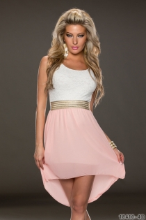 Wonderful Ethereal Chiffon Sleeveless White & Pink Hit Color Stitching High-low Dress
