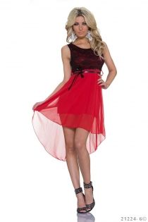 Sexy Lingerie Black Lace and Red Chiffon Stitching High-low Plus Size Casual Dress