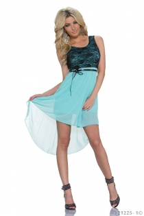 Sexy Lingerie Black Lace and Blue Chiffon Stitching High-low Plus Size Casual Dress