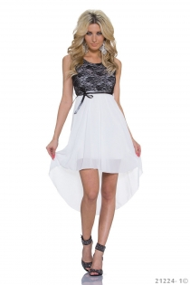 Sexy Lingerie Black Lace and White Chiffon Stitching High-low Plus Size Casual Dress