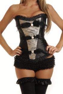 Strapless Black/White Corset with Feathers