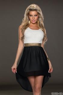 Wonderful Ethereal Chiffon Sleeveless White & Black Hit Color Stitching High-low Dress