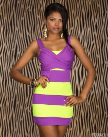 Sexy Underwear Yellow & Purple Hit Color Stitching Package Hip Clubwear