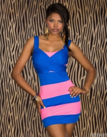 Sexy Underwear Pink & Blue Hit Color Stitching Package Hip Clubwear