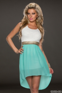 Wonderful Ethereal Chiffon Sleeveless White & Jade Hit Color Stitching High-low Dress