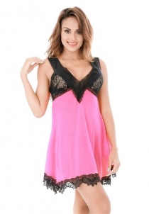 Rose Pink Lingerie V-neck Babydoll with Floral Lace Bust and Bottom Details