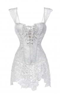 Flirty White Lace Corset with Lace-up Front, Zipper Back, Lace Hemline