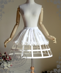 Sexy White Cosplay Skirt Leather Steel Support Tutu