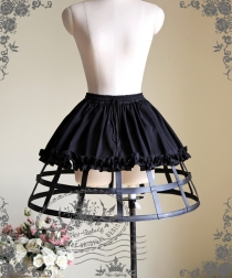 Sexy Black Cosplay Skirt Leather Steel Support Tutu