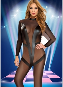 Sexy Black Transparent Mesh Jumpsuit
