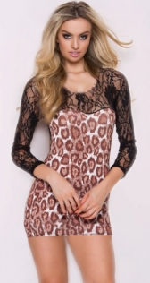 Leopard Print Mini Dress with Floral Lace Top and Sleeves