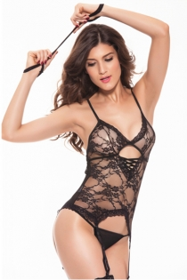 Black Floral Lace Teddy With G-String and Garter Hooks